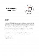 Absage des Handball-Camps 2020