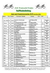 Tourenplan 2019